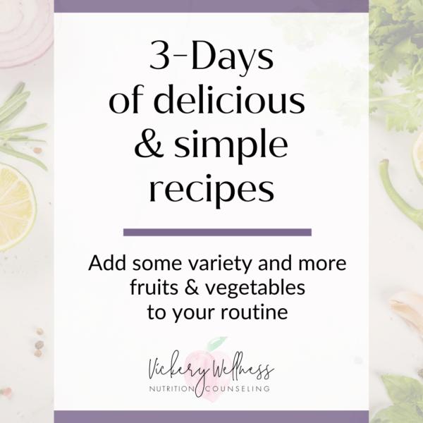 3 days recipes meal plan